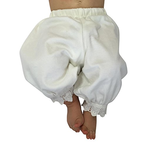 Victorian Organics Little Girl Toddler Pantaloon Organic Cotton Lace Long Pant (3T 3 Toddler, Off-White) by Victorian Organics (Image #1)