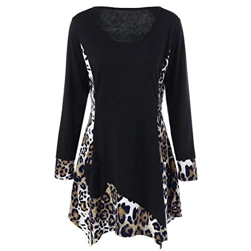 Women Long Sleeve Leopard Print Tops Daoroka Ladies Sexy O-Neck Pocket Patchwork Pullover Casual Loose Blouse Fashion Cute Autumn Winter Comfort Tunic T Shirt