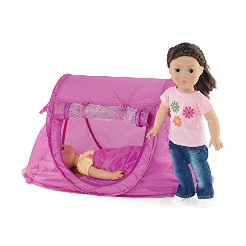 18-inch Doll Accessories | No Poles to Assemble! Pop-up Camping Tent with Matching Sleeping Bag and Carry Case | Fits 18