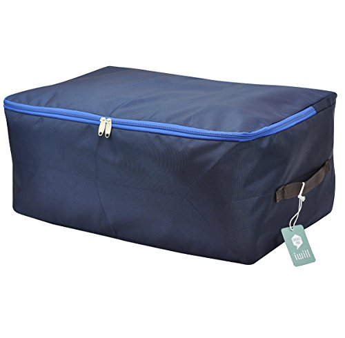 High Density Oxford Fabric Under Bed Storage Bag, Closet Organizer Soft Bag, Space Saver Bag for Clothing, Duvets, Bedding, Pillows, Curtains (Midnight blue, L) (Space Bag Under Bed compare prices)
