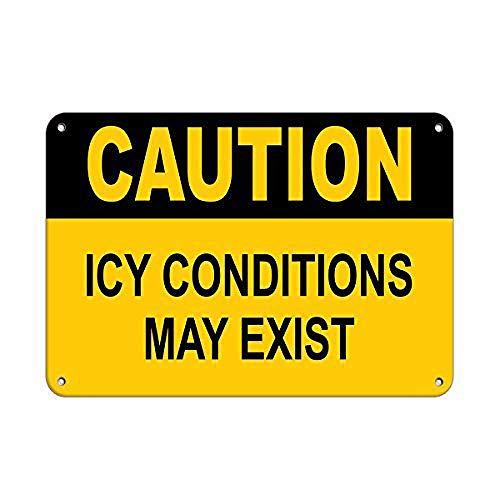 注意ICY状態により氷と雪が発生する場合があります 金属板ブリキ看板警告サイン注意サイン表示パネル情報サイン金属安全サイン