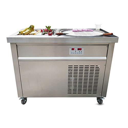 menty to Door USA Franchise Single Round 50cm pan + 6 pre-Cooling Buckets auto defrost Instant roll ice Cream Machine Instant Fry ice Cream Machine with Sneeze Guard and Full Refrigerant ()