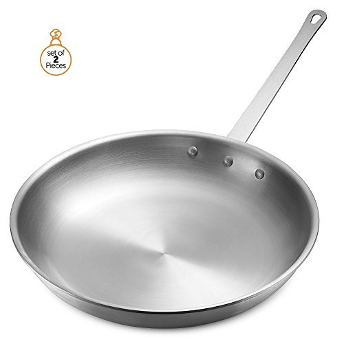 "Frying Pan Aluminum, 12"" and 8"" Diam, Cookware Set, Dishwasher Safe, Commercial Grade - NSF Certified"