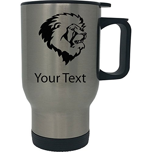 Custom Personalized Lions Head 14 Ounce Silver Stainless Steel Travel Coffee Mug with Handle