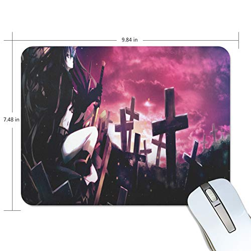 Funny Mouse Pad Personalized Halloween Cemetery Female Swordsman Rectangle Shape for Office Computer Work (9.84 x 7.48 -