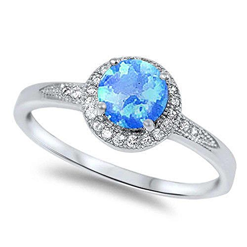 Lab Created blue Opal & Cz .925 Sterling Silver Ring size 7 ()