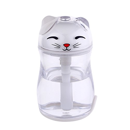 180ML Lucky Cat Cool Mist Humidifier USB 3 Modes LED Night Light for Home/Car/Bedroom/Kids/Babies (White)