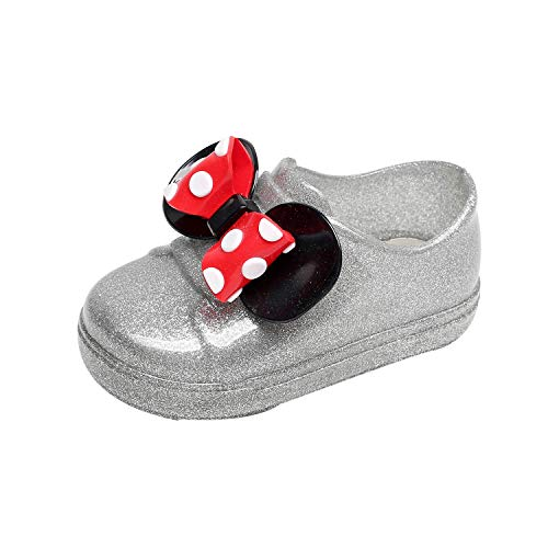 Toddler Waterproof Shoes FAPIZI Infant Dot Bowknot Rubber Rain Casual Boots Kids Children Rain Shoes Silver