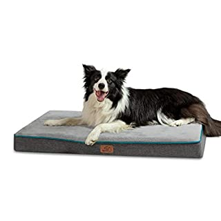 Bedsure Large Memory Foam Dog Bed - Orthopedic Joint Relief Dog Mat with Removable Washable Cover and Waterproof Liner - Plush Flannel Fleece Top with Nonskid Bottom, Grey