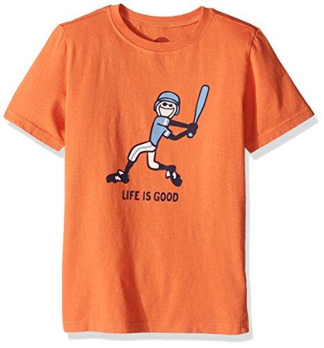 Life is good Boys Baseball Swing Tee, Ember Orange, Small (Life Is T-shirt Good Baseball)