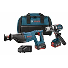 Bosch CLPK203-181 18V 2-Tool Combo Kit with 1/2-Inch Hammer Drill/Driver, Reciprocating Saw, 2-Battery, Charger and Contractor Bag