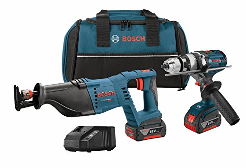 Bosch CLPK203-181 18V 2-Tool Combo Kit with 1/2 inch Hammer Drill/Driver, Reciprocating Saw, 2 Batteries, Charger and Contractor Bag