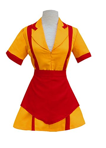Women Waitress Uniform Cosplay Fancy Dress Party Costume yellow X-Large