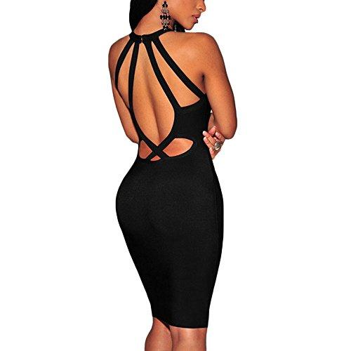 Halter Kunstseide Schlüsselrozette Kleid Verband Ansatz Schwarz Frauen HLBandage Rückenfreie OqXH55