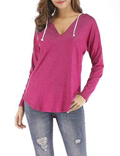 (Nekosi Women Deep V Neck Solid Pullover Drawstring Loose Sweatshirt Hoodies Rose Red M)