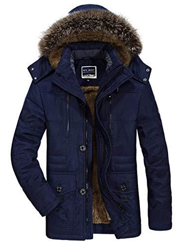 Avec Manches Surdimensionné Mode Hommes Mâle D'hiver Capuche Vêtements Long Chaud Transition Longues D'extérieur Manteau Fourrure Veste De Blau À Casual 8zRw7x74n