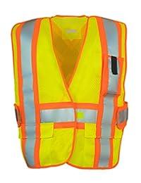 5-Point Tear-away Hi Vis Mesh Traffic Safety Vest, One-Size