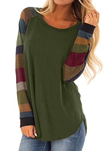 Asvivid Womans Cozy Colorblock Long Sleeve Pullover Sweatshirt Soft Junior College T-Shirt Tunics Tops Plus Size 2X Green