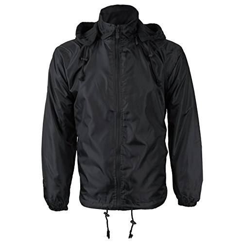 Renegade Men's Reversible Water Resistant Polar Fleece Lined Hooded Rain Jacket (Medium, Black)