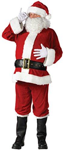 Santa Suit Complete Velour Costumes (Funworld Mens Christmas Complete Velour Santa Claus Suit Costume, Standard (40-48))