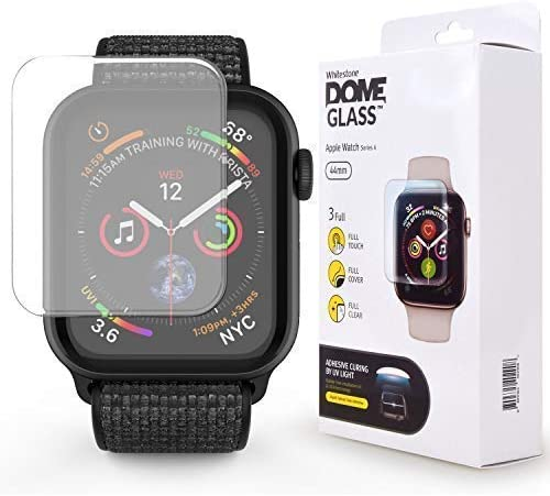 DOME GLASS for Apple Watch Series 5 (44mm Band) Tempered Glass Screen Protector [Liquid Dispersion Tech] with Case for Apple Watch 5, 4 - One Pack NO UV Light