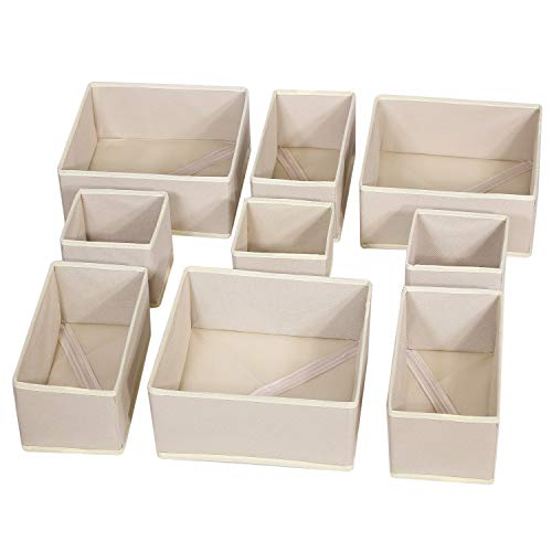 DIOMMELL 9 Pack Foldable Cloth Storage Box Closet Dresser Drawer Organizer Fabric Baskets Bins Containers Divider with Drawers for Baby Clothes Underwear Bras Socks Lingerie Clothing,Beige 333 ()