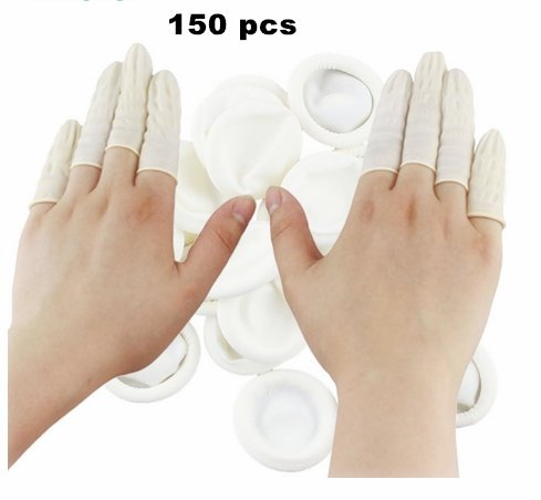 Disposable Latex Finger Cots Rubber Fingertips Protective Finger Cots,Pack 150 by Idea2go