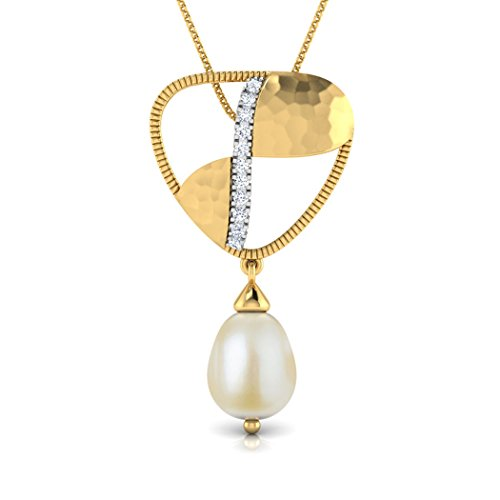 14K Or jaune 0.05CT TW Round-cut-diamond (IJ | SI) et perle Pendentif