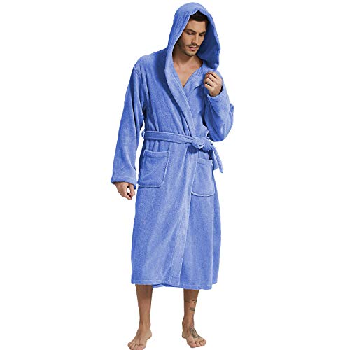 Mens Hooded Terry Cloth Bathrobe Cotton Kimono Spa Robe Solid Color with Pockets (Hooded Navy,Large)