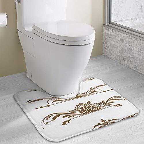 (Angeline E Topp Retro Page Borders Customized SMemory Foam Bath Mat Non Slip Absorbent Super Cozy Soft Superfine Fiber Durable U Shape Bathroom Carpet)