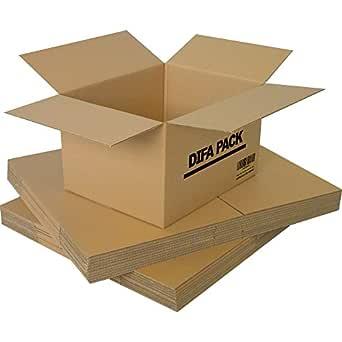 DIFA Pack de 12 Cajas de Cartón - Alta Calidad, Resistente - Cajas de Mudanza - Fabricadas en Europa - Tamaño 440 x 310 x 260 mm - Cajas Mudanza, Cajas Almacenaje, Cajas carton: Amazon.es: Industria, empresas y ciencia