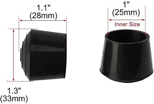 2,5 cm Stuhlkappen Garten Schwarz f/ür drinnen und drau/ßen Stuhlkappen rund B/üro f/ür Terrasse Stuhlbeinkappen aus Gummi Stuhlkappen Stuhlbeine