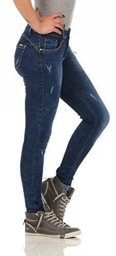 bleu 38 Femme turquoise Jeans Fashion4Young jeans Turquoise 8Bq4w7