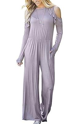ABCWOO Womens Falbala Cold Shoulder Long Sleeve Jumpsuits Lounge Wide Leg Long Pants