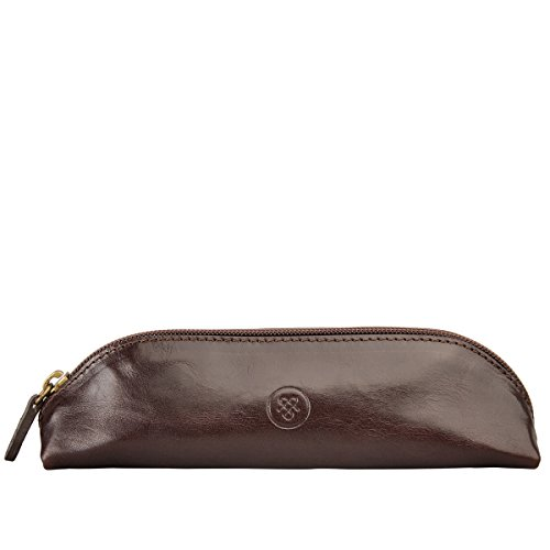 Maxwell Scott Personalized Luxury Italian Brown Leather Pen / Pencil Case (Felice) by Maxwell Scott Bags
