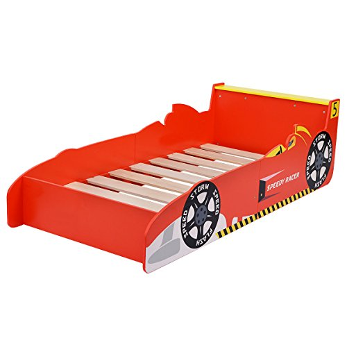Costzon New Kids Race Car Bed Toddler Bed Boys Child Furniture Bedroom Red Wooden
