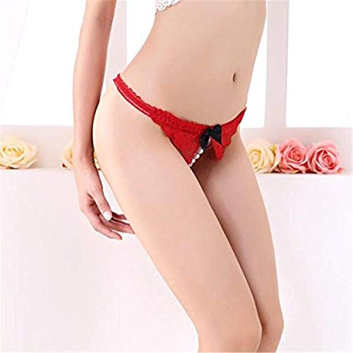 Mistere Lace Sexy Embroidery Open Crotch Pearl Panties Briefs G-String,Red