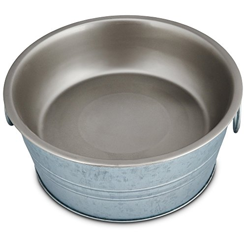 Harmony Cup - Harmony Galvanized Dog Bowl with Removable Insert, 7 Cup, Large, Gray