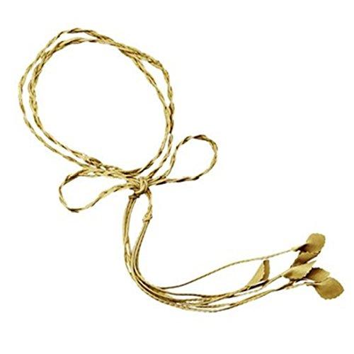 Braided Tassel Gold (Academyus Womens Slim Braided Leather Tie Dress Waist Band Cinch Belt Display-Gold)