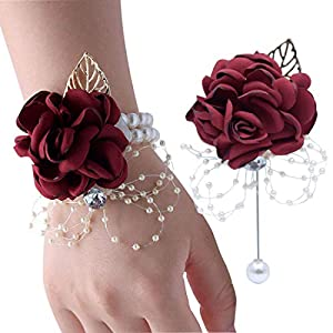VEIDO Wrist Corsage Rose Flower Brooch for Wedding Party Prom Wristband Flower Set 33