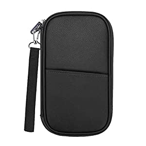 Family Passport Holder, Fintie RFID Blocking Zipper Case Document Organizer, Black