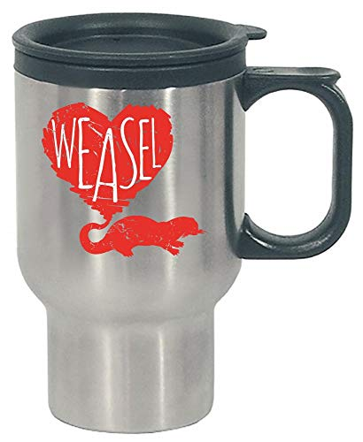 Funny Weasel - Heart Love - Furry Animal Humor - Stainless Steel Travel Mug by Stuch Strength LLC