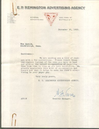 Foster-Milburn Doan's Pills & Remedies reading notice list & cover letter 1937