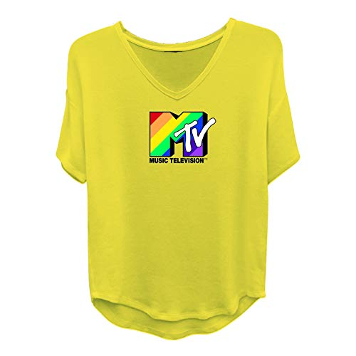 MTV Ladies Short Sleeve Shirt - #TBT Ladies 1980's Clothing - I Want My Logo Shirt Tail Short Sleeve Tee (Mustard, Small) ()