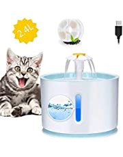 Pet Water Fountain with Water Level Window 2.4L Ultra Silent Cat Fountain with LED Night vision Waterfall Flower Style Fountain, 3 Modes Drinking Fountain, with 2 Carbon Filter and 1 Flea Comb Blue