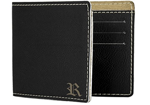 Any Initial Engraved Bifold Wallet for Dad, Father, Husband, Boyfriend - Father's Day Gift, Graduation - F26 (Husband For Gifts Graduation)