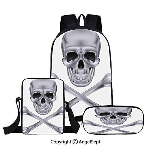 Three-piece children's school bag,Vivid Skull and Crossbones Dangerous Scary Dead Skeleton Evil Face Halloween Theme Decorative,Dimgray,For Teens Girls Boys Women Men
