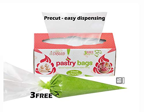 Disposable Pastry Bags, Extra Large - 21 Inch. 80 count Heavy Duty Icing Bags in dispenser box. Microwave safe. 3 Free Piping Bag Ties included!