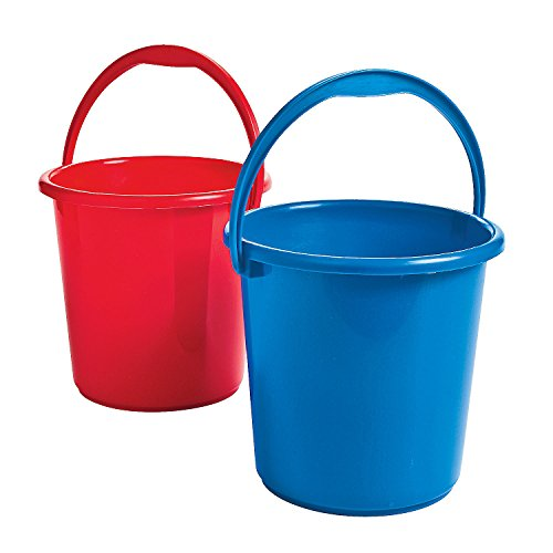 Fun Express Red and Blue Patriotic Sand Buckets (Set of 12) Fourth of July Toys