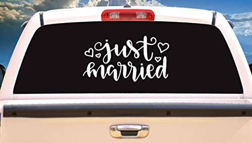 (just married Wedding, Wedding Day Vinyl Decal Sticker-Design Pick Color-for Car Windows, and more)